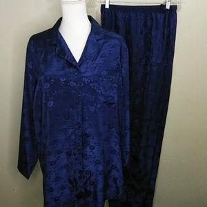Navy Blue Satin Jacquard Lounging Pajamas NWT